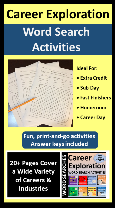 Career Exploration Word Search Activities For Class Or Distance Learning 38 Off Substitute Teacher Activities Career Exploration Teacher Activities