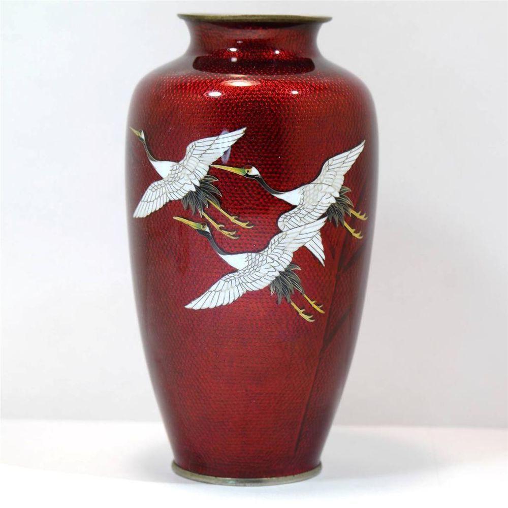Japanese Cloisonne Guilloche Red Enamel Cranes Vase 1920s Tacinhas Decoradas Decoracao Objetos