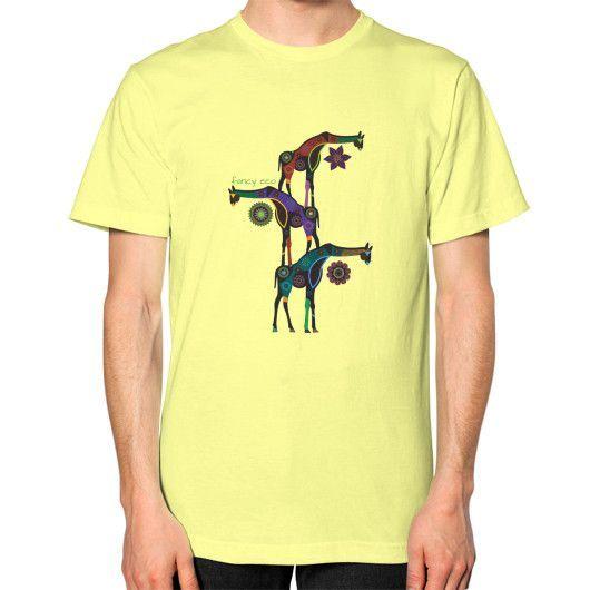 Giraffe Tower Unisex T-Shirt (on man)