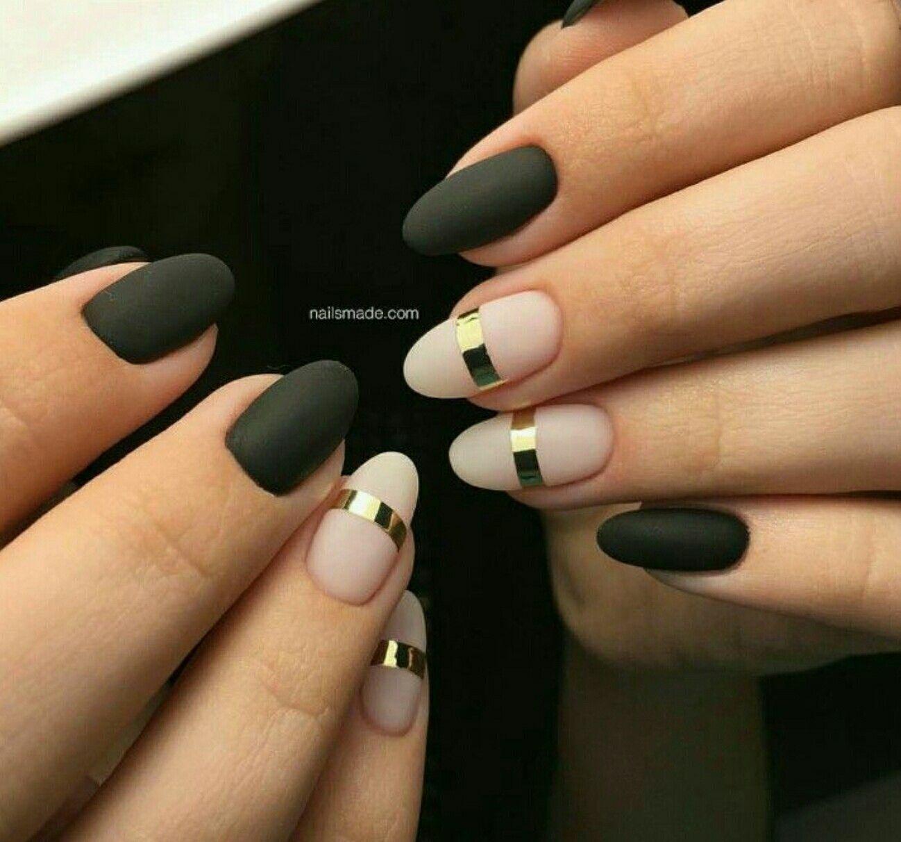 Simple yet beautiful design. Matte nails. Black nails | nails ...