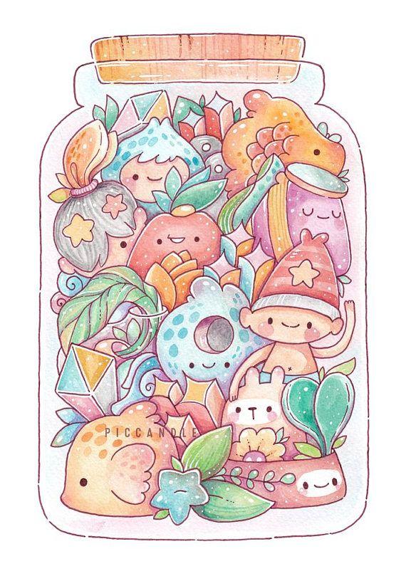 Jar Waterdoodle afdrukken Cute doodle art, Cute