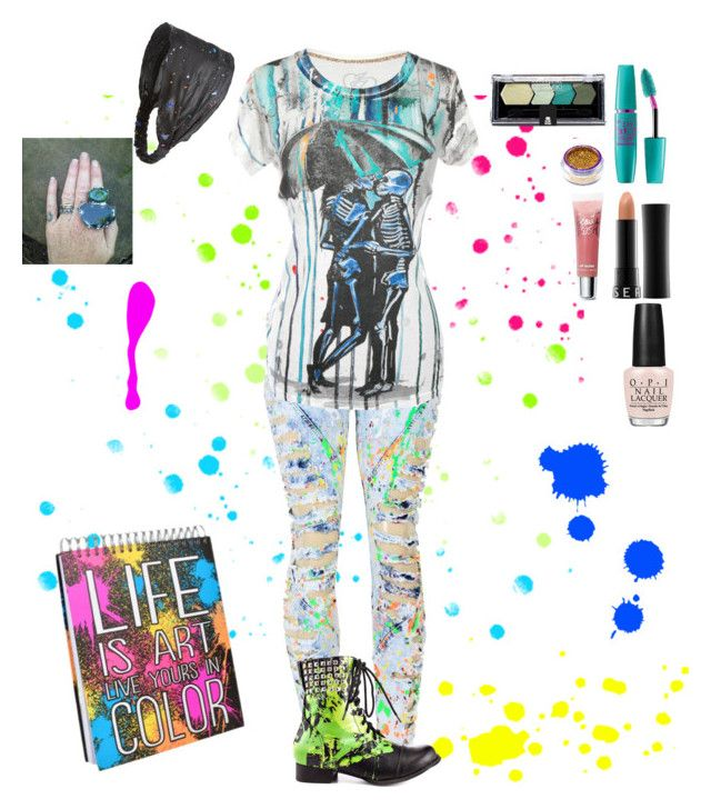 """Splatter Punk Artist"" by kristaleedistylish ❤ liked on Polyvore featuring Iron Fist, Maybelline, Sephora Collection, Victoria's Secret, Cara and Abbey Dawn"