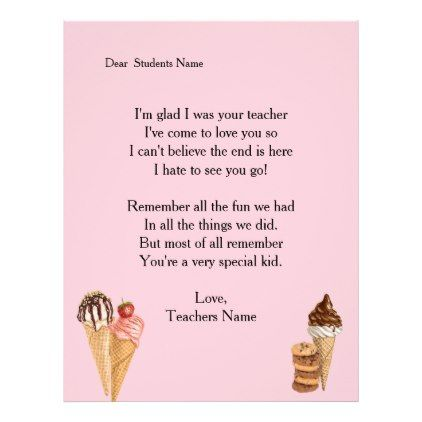 Teacher letter to student ice cream custom pinterest teacher letter to student ice cream custom letterhead template gifts custom diy customize spiritdancerdesigns Image collections