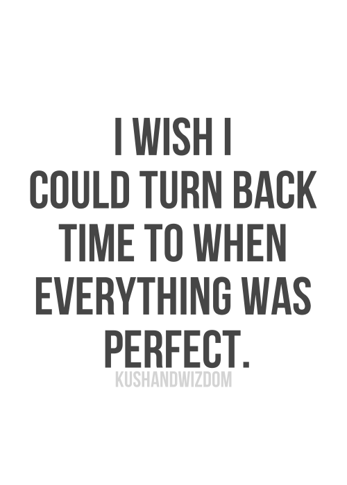 I Wish I Could Turn Back Time To When Everything Was Perfect May