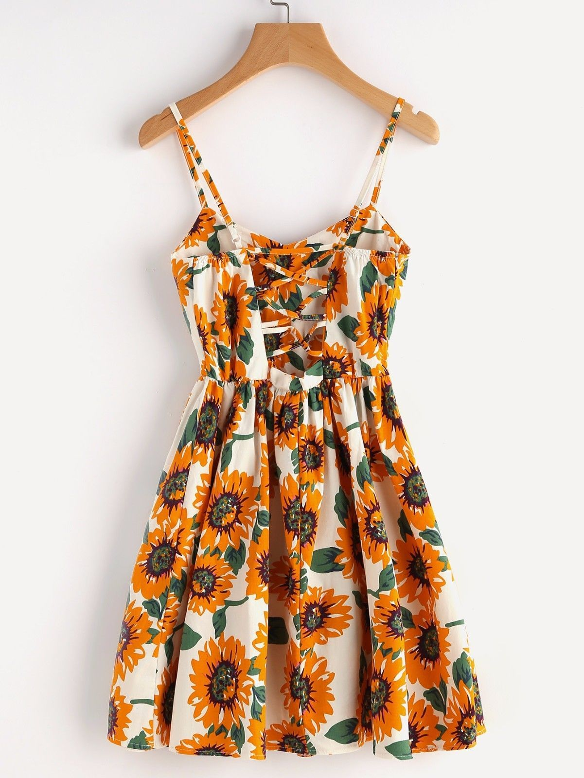Cute Summer Sunflower Print Random Crisscross Back A Line Cami Casual Dress Mini Cami Dress Cami Dress Clothes [ 1600 x 1201 Pixel ]