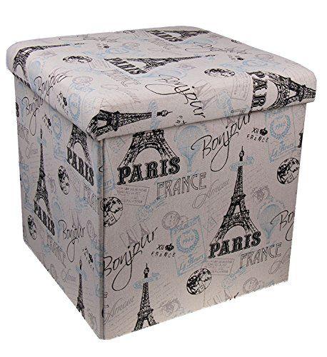 Super Premium White And Black Paris Themed Folding Ottoman Storage Bralicious Painted Fabric Chair Ideas Braliciousco