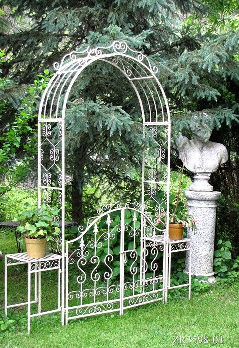 Garden Gate Arch With Side Plant Stands.