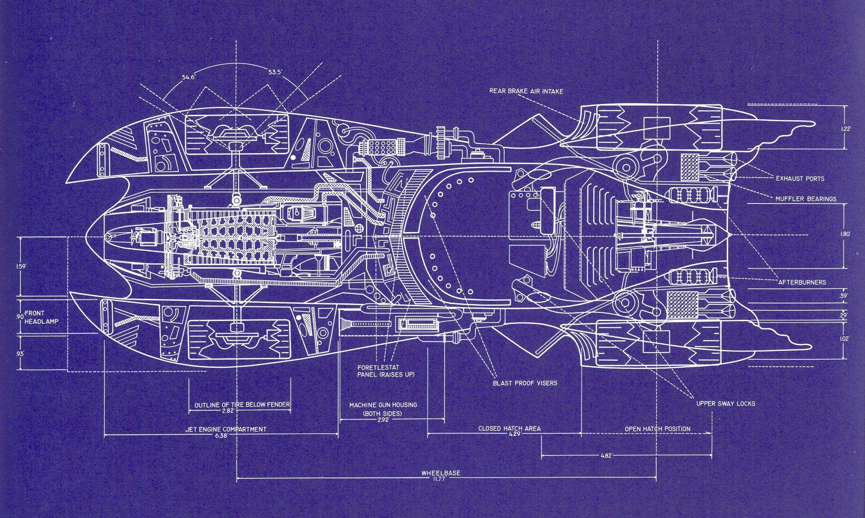 Batmobile Blueprint for Tim Burton's 'Batman' (1989) by Anton Furst
