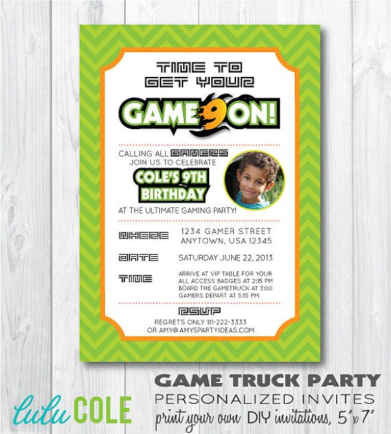 GAME TRUCK Gamer Personalized Photo Birthday Party By