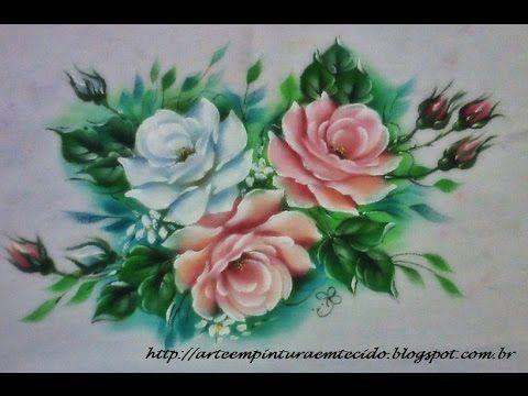 Vídeo de rosa branca pintura em tecido