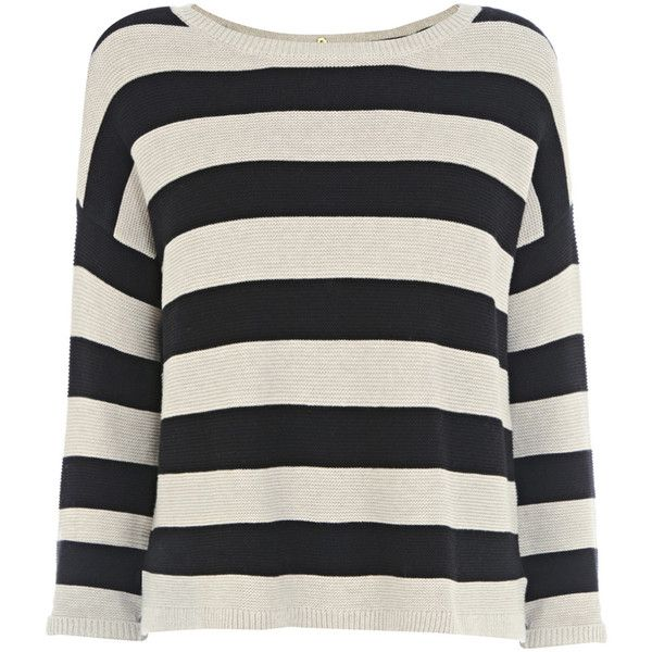 Warehouse Popper Back Tuck Stitch Stripe Jumper (€17) ❤ liked on Polyvore featuring tops, sweaters, shirts, long sleeves, black, black button shirt, crew neck sweaters, black sweater, lightweight long sleeve shirt and black long sleeve shirt