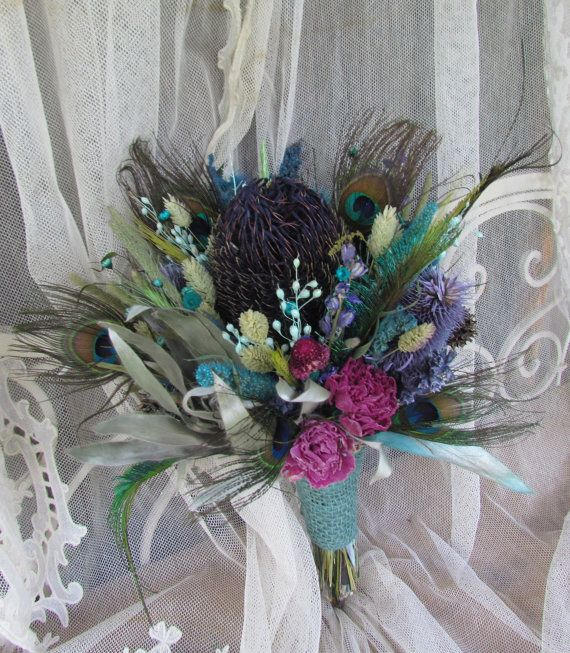 Wedding Bouquet Dried Flower Arrangement Protea Peacock Feather Teal Purple Magentia