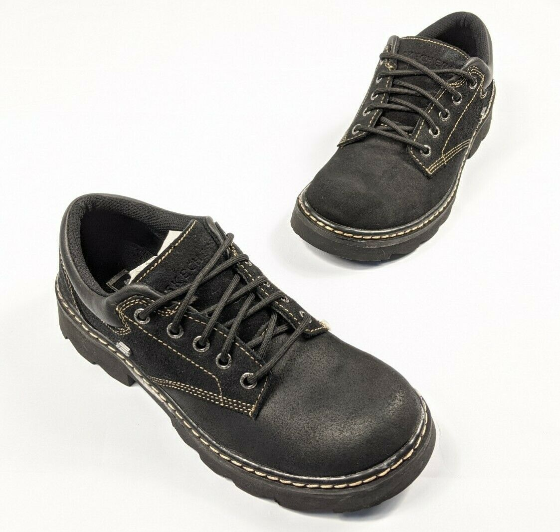Sketchers Black Leather Lace Up Hiking