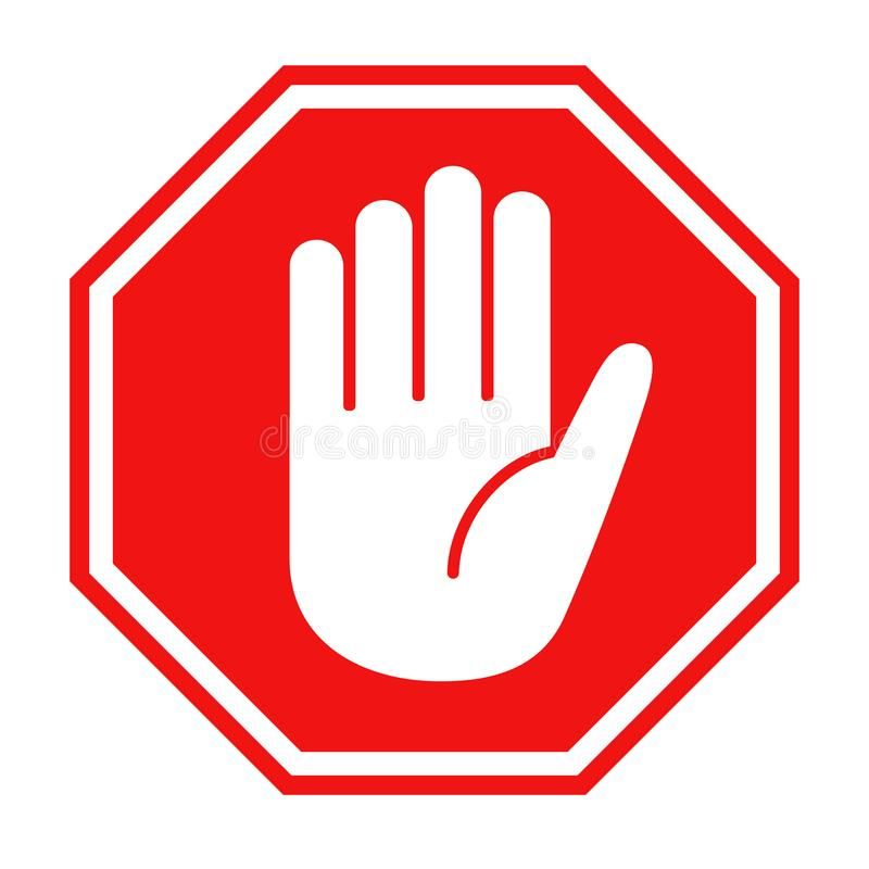 Red Stop Sign With Big Hand Symbol Icon Vector Illustration Simple Red Stop Roa Sponsored Big Hand Symbol Hand Symbols Stop Sign Vector Illustration