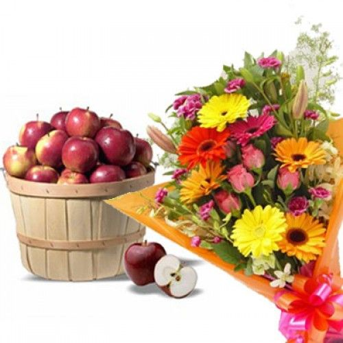 Mixed #Flower With #Apple Basket