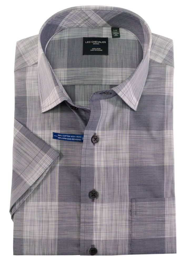 100 Cotton No Iron Plaid Sport Shirt by Leo Chevalier in