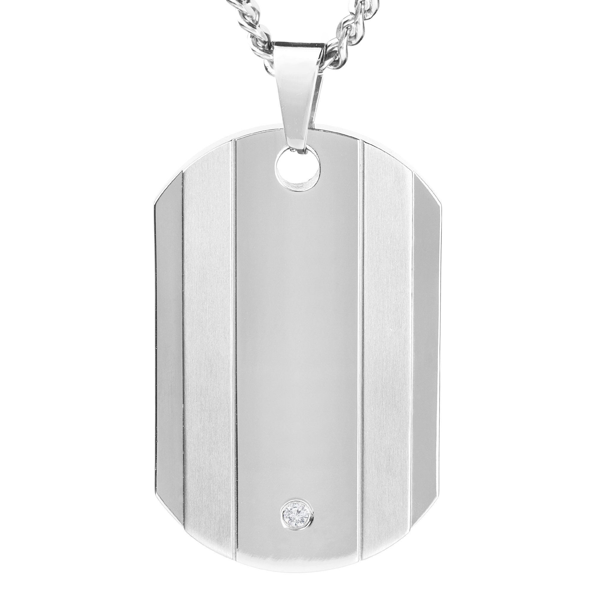 Crafted with light weight titanium this dog tag pendant features