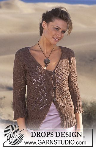 95-21 Cardigan knitted in lace pattern  byDROPS design. Free pattern at Ravelry.