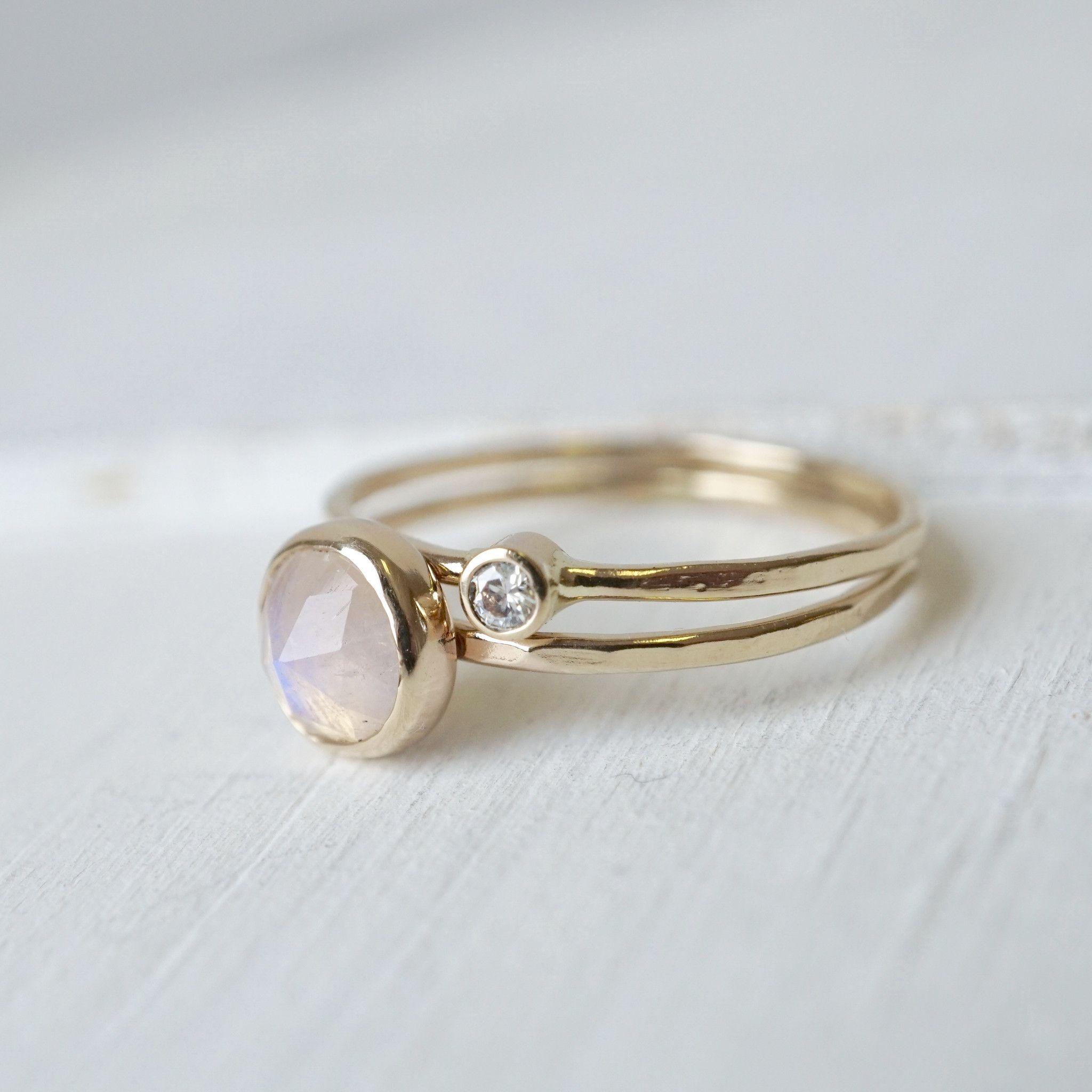 K moonstone diamond ring set xuring handmade