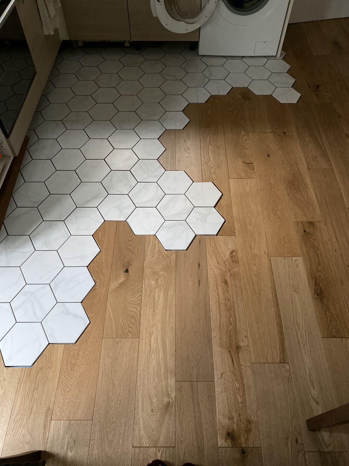 38++ Hexagon tile wood floor transition trends