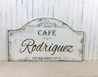 Custom Personalized Cafe Kitchen Sign, Distressed Kitchen Decor, Country French  Sign, Paris Apartment