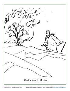 Moses And The Burning Bush Coloring Page Bible Coloring Pages