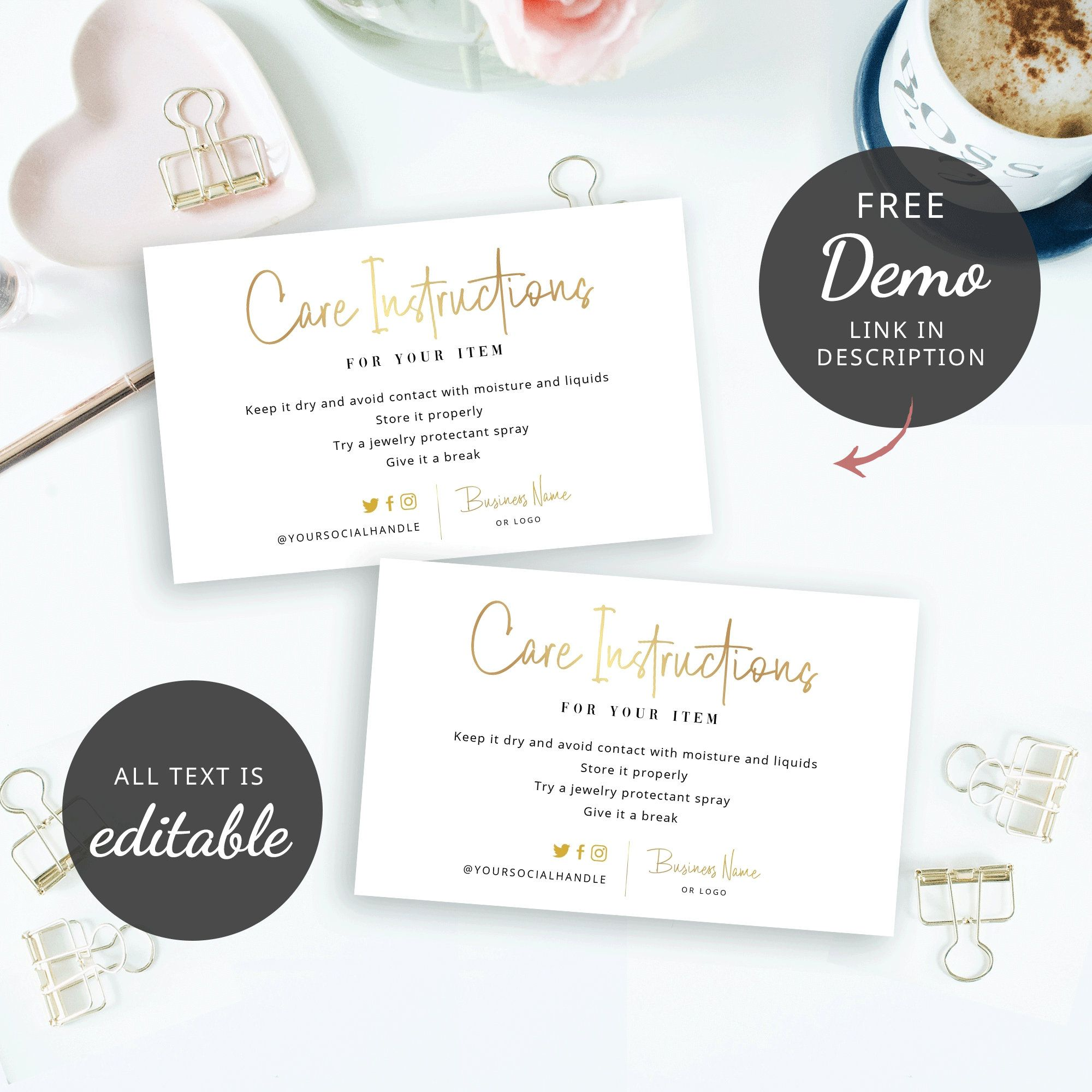 Faux Gold Care Card Template Editable Care Instructions Card Etsy Card Template Business Thank You Cards Letterhead Design