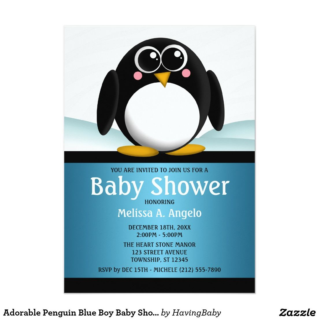 Adorable Penguin Blue Boy Baby Shower Invitations | Boy baby showers ...