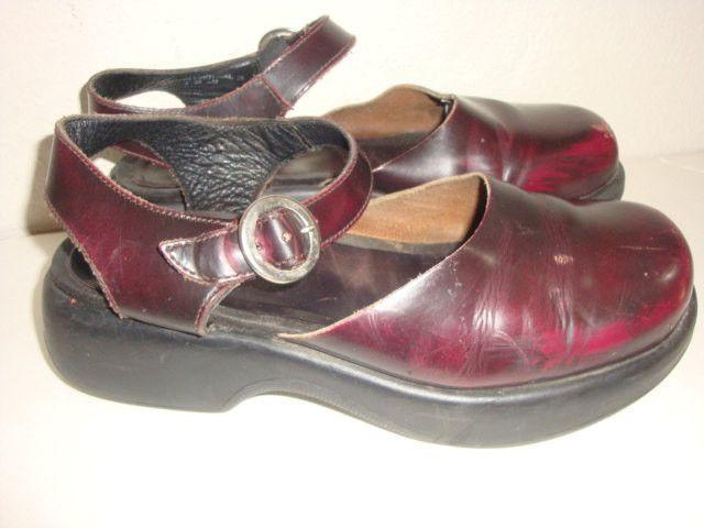 vintage DANSKO burgundy red marble maryjane mules clogs heels platform leather indie boho women size 8 us 38