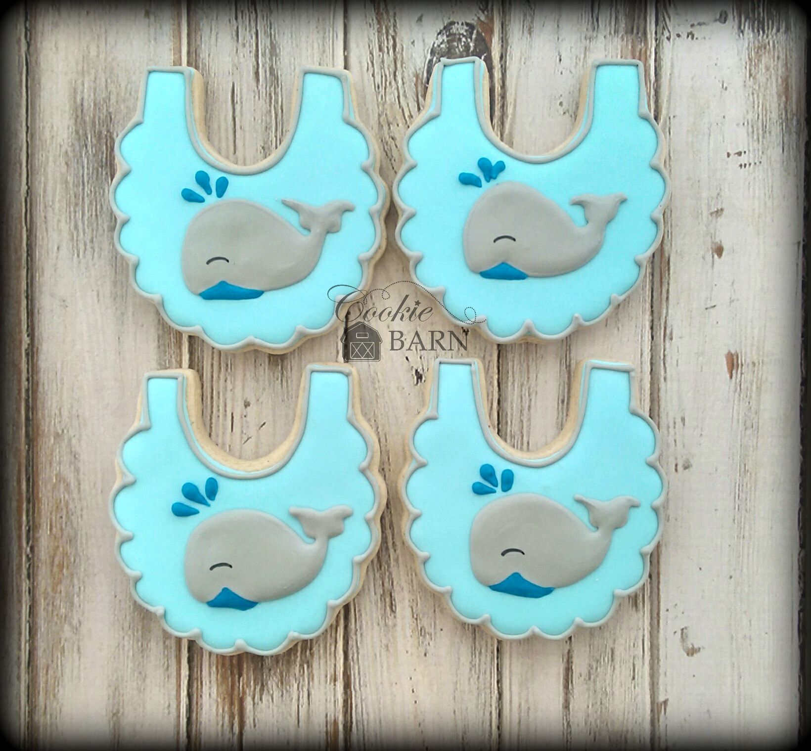 Whale Boy Baby Shower Decorated Cookies