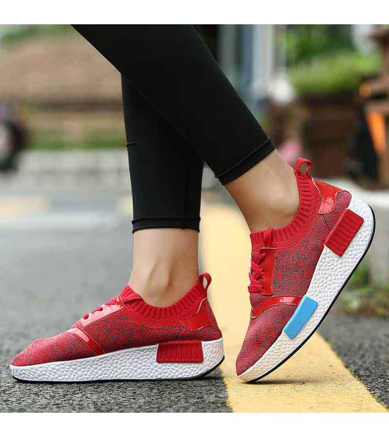 Women's #red flyknit lace up #rocker bottom sole shoe sneakers, lightweight, pattern, casual, leisure sport occasions.