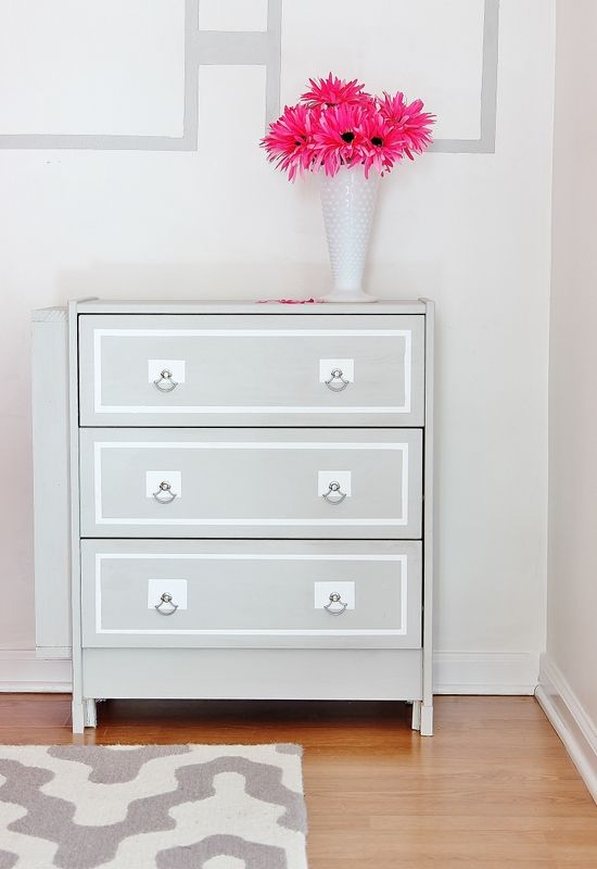 IKEA Hack Dresser Project - really amazing redesign of the super cheap $34 Rast dresser. Love the gray with white trim paint job.