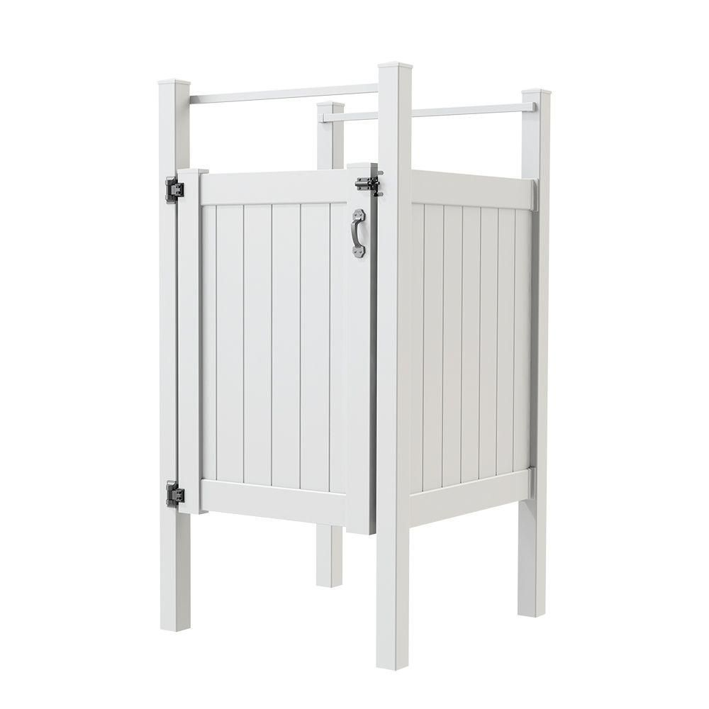 5 ft. x 4 ft. Vinyl Outdoor Shower Stall Kit with Un-Assembled Gate ...
