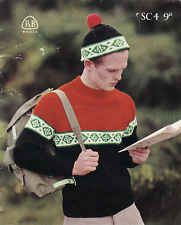 Vintage Knitting Pattern Instructions to Make a Mens Jumper and Hat DK