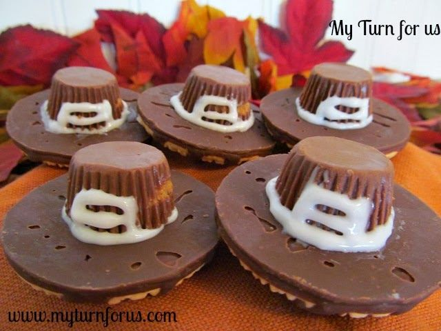 My Turn for us: Pilgrim Hats made from peanut butter cups!! Fun Edible Craft for Thanksgiving