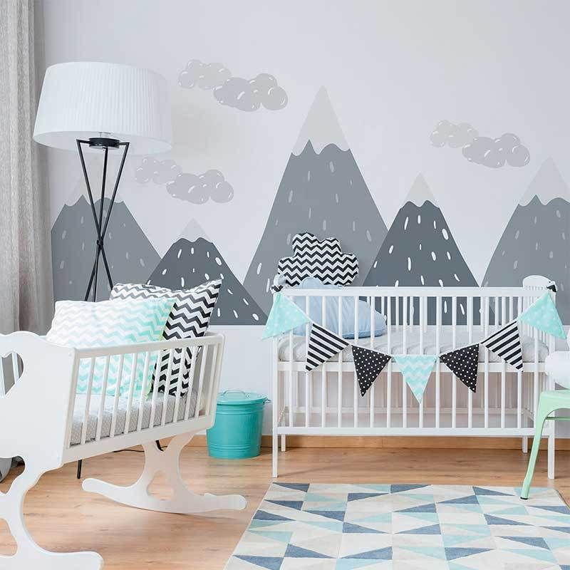 Decora la cameretta con leostickers® Gray Mix Geometric Mountain Wall Sticker Kid Decal Kids Room Paint Wall Decals For Bedroom Wall Stickers Kids