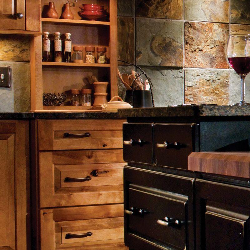 Rustic Birch Kitchen Cabinets: Birch Praline Cherry Vintage Onyx.