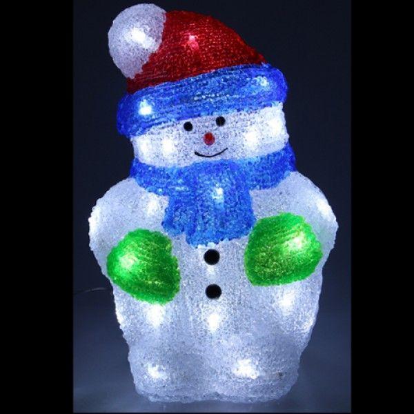 bonhomme de neige lumineux acrylique 30 led blanc. Black Bedroom Furniture Sets. Home Design Ideas