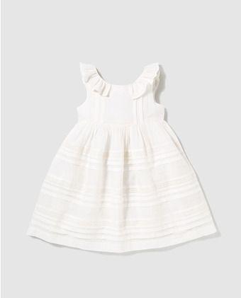 0c98f5e5c Vestido de niña Tizzas en blanco con jaretas | moda infantil ...