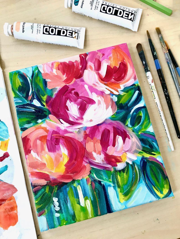Easy Flower Painting Ideas For Beginners Elle Byers Art Flower