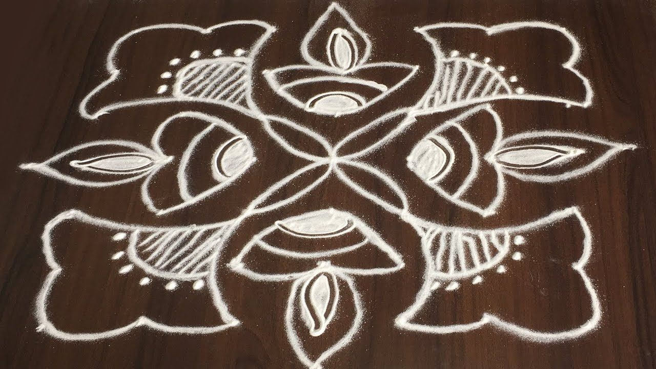 Beautiful & Easy Rangoli Design for Diwali with 7x7 dots
