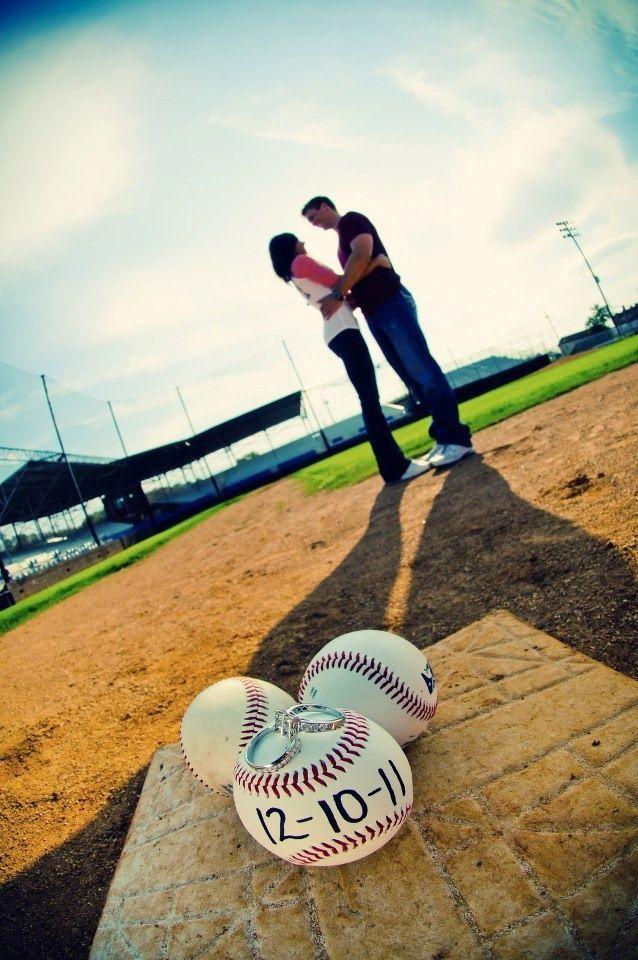 couples baseball photos save the date photo idea couple standing