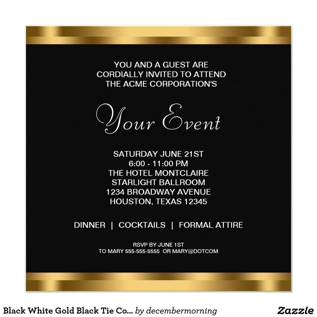 Black White Gold Black Tie Corporate Party Invitation Zazzle Com