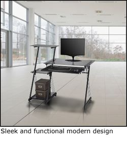 Strange Brenton Studio Limble 46W Glass Computer Desk Black Item Download Free Architecture Designs Photstoregrimeyleaguecom