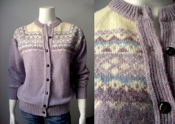 1960s Fair Isle sweater / Lilac Nordic by StardustVintagestore ...