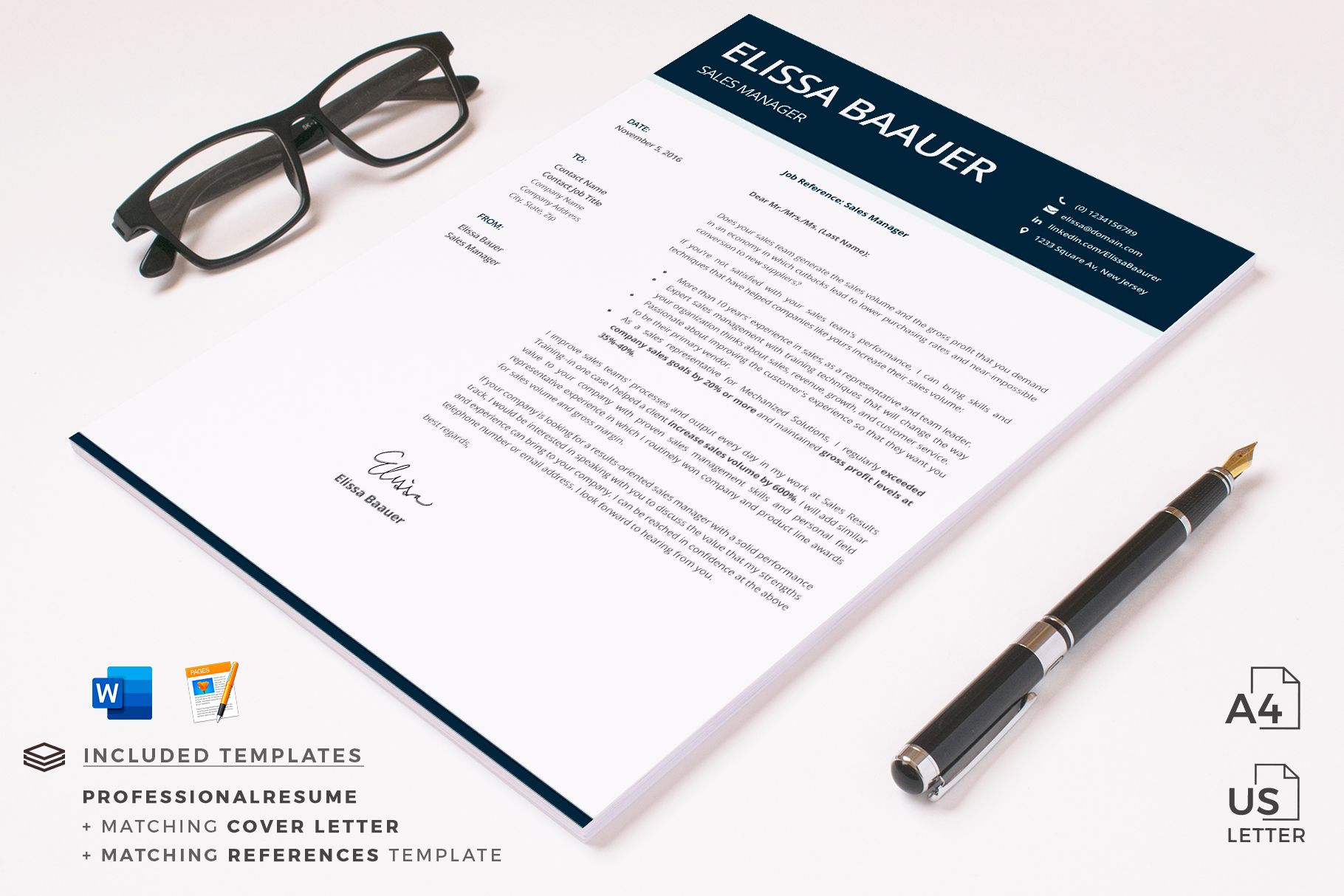 Creative Resume Templates For Ms Word And Mac Pages Professional Resume Templates And Matching C Modern Resume Template Resume Template Simple Resume Template