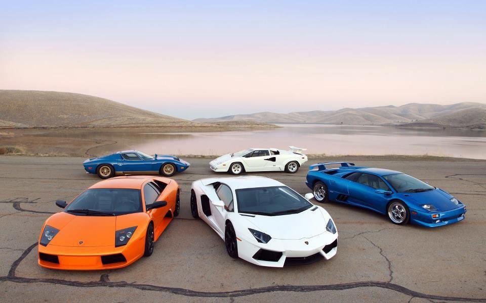 Five Generations Of Lamborghini (Miura, Countach, Murcielago, Aventador,  Diablo L.