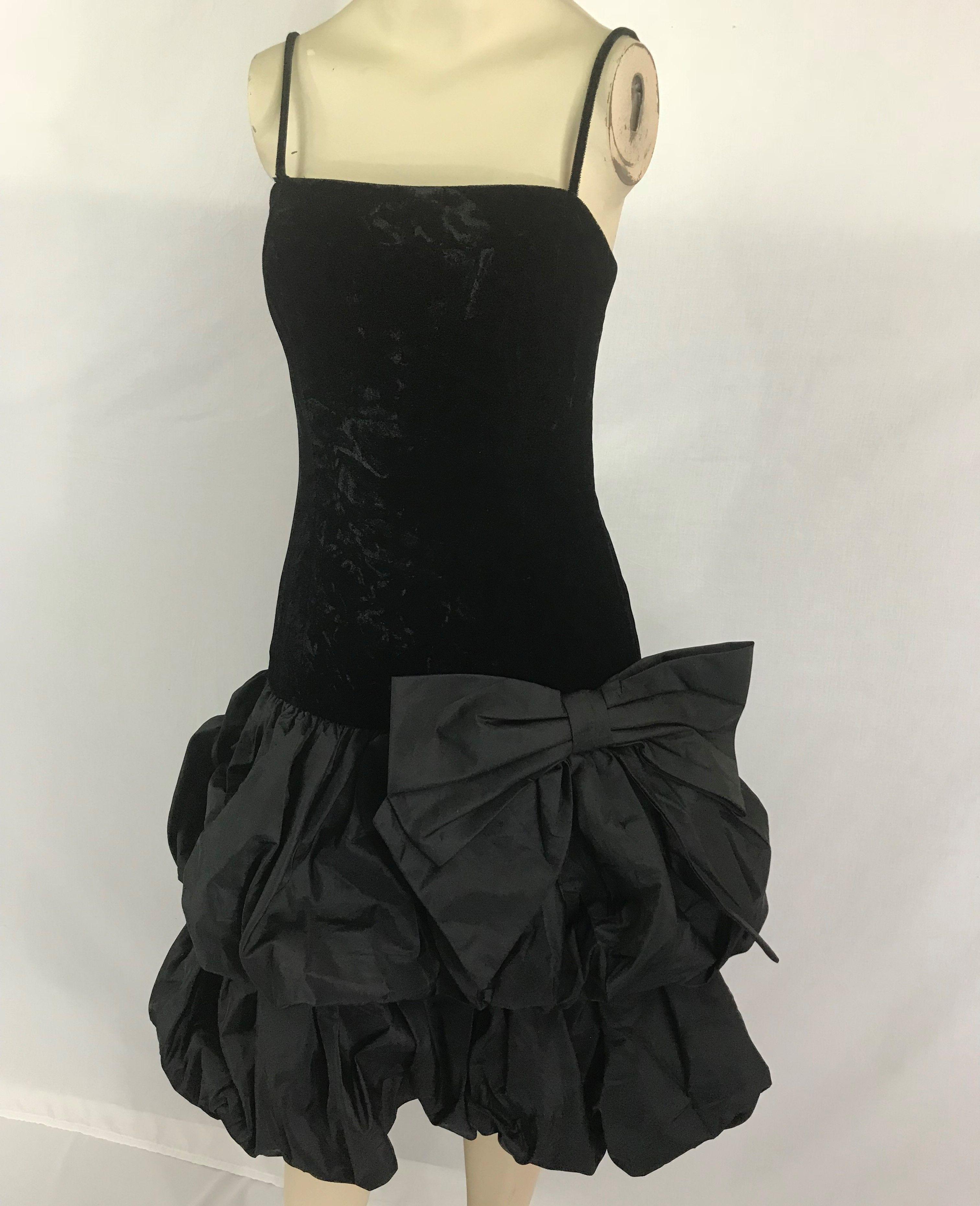 Totally s vintage black velvet bubble puff skirt party prom dress