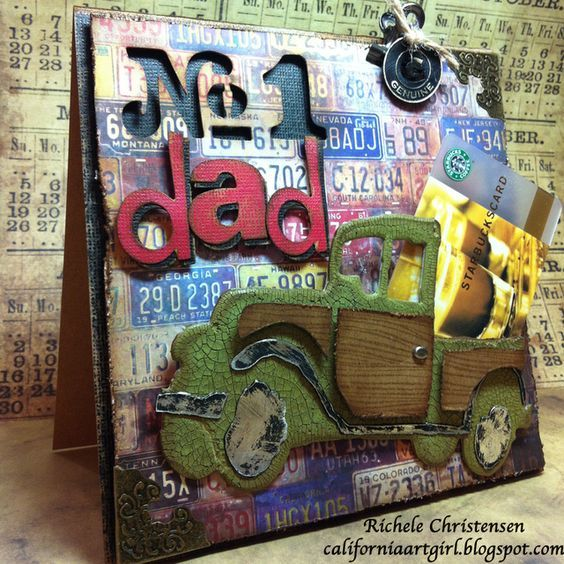 Design team member Richele Christensen shares a great tutorial for making a fun vintage style card for dad. You can find it on our blog: http://sizzixblog.blogspot.com/2012/05/vintage-jalopy-fathers-day-card.html: