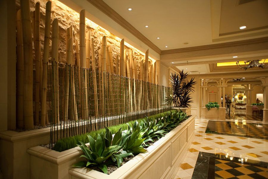 bamboo decoration plus cool greenery plant display on tropical interior design also peel and stick flooring